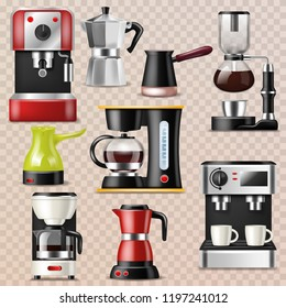 Coffee machine vector coffeemaker and coffee-machine for espresso drink with caffeine in cafe illustration set of professional equipment making cappuccino beverage isolated on transparent background