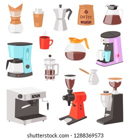 Coffee machine vector coffeemaker and coffee-machine for espresso drink with caffeine in cafe illustration set of professional equipment making cappuccino beverage isolated on white background