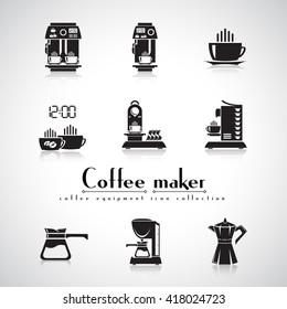 Coffee machine vector flat icon set - espresso machine, capsule coffee machine, drip coffee machine, coffee pot. Home and beverage coffee machine. Natural ground coffee.