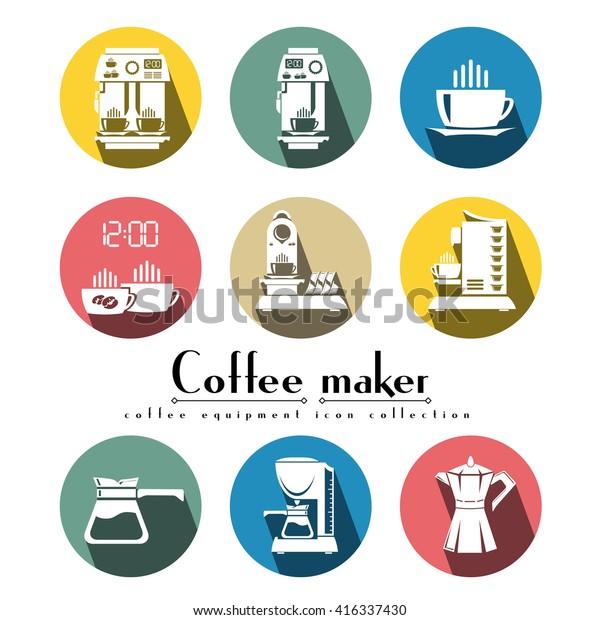 Coffee Machine Vector Flat Icon Set Stock Vector (Royalty Free
