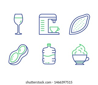 Coffee machine, Wine glass and Cooler bottle line icons set. Cocoa nut, Peanut and Cappuccino cream signs. Cappuccino machine, Bordeaux glass, Water drink. Vegetarian food. Vector