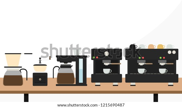 Coffee Maker Cartoon Vector Free Space Stock Vector (Royalty Free