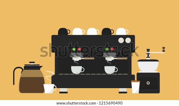 Coffee Maker Cartoon Vector Free Space Stock Vector (Royalty