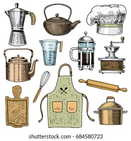 Coffee maker or grinder, french press, rolling pin and saucepan, wooden board. Chef and dirty kitchen utensils, cooking stuff for menu decoration. engraved hand drawn in old sketch and vintage style.