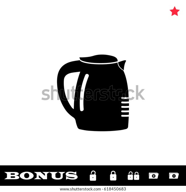 Coffee Maker Icon Flat Black Pictogram Stock Vector (Royalty
