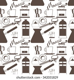 coffee maker icons on background seamless Vector style