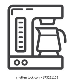 Coffee maker line icon, kitchen and appliance, vector graphics, a linear pattern on a white background, eps 10.