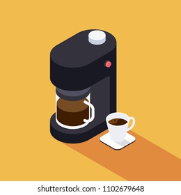 Coffee maker machine with coffee cup isometric view flat design, vector illustration