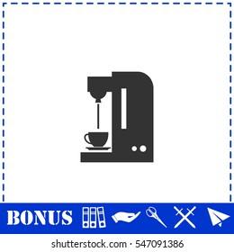 Coffee maker machine icon flat. Simple vector symbol and bonus icon