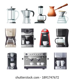 Coffee maker and machine vector icons set. Cartoon coffee pot and espresso machine with cup and mug, french press, drip, pour over and turkish cezve, aeropress, moka pot and single serve machine