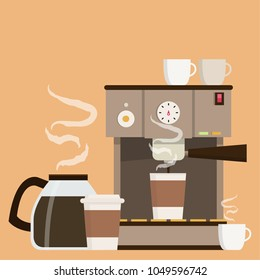Coffee maker set vector. free space for text. wallpaper. background. coffee poster.