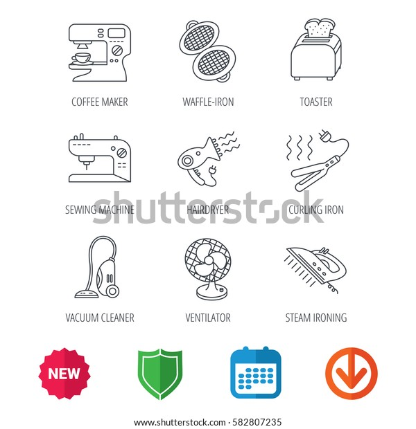 Coffee maker, sewing machine and toaster icons. Ventilator, vacuum cleaner linear signs. Hair dryer, steam ironing and waffle-iron icons. New tag, shield and calendar web icons. Download arrow. Vector