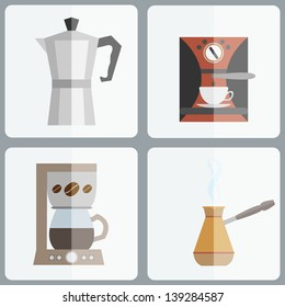 Coffee makers icon set in minimalistic style. Flat coffee icons. Vector illustration EPS 10.