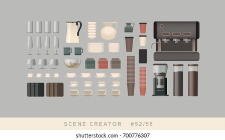 Coffee making equipment. Isolated vector objects. Scene creator set.
