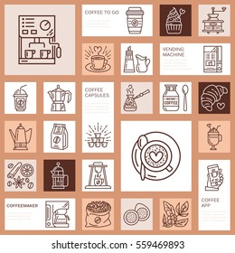 Coffee making equipment vector line icons. Tools - moka pot, french press, coffee grinder, espresso, vending, plant. Linear restaurant, shop pictogram with editable stroke for menu