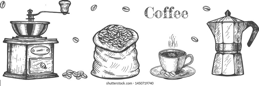Coffee making objects set. Grinder, bag, beans, cup, moka pot coffee maker. Vintage hand drawn engraving etching style.