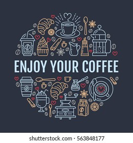 Coffee making poster template. Brewing vector line icon, circle illustration for menu. Elements - coffeemaker, french press, grinder, espresso, croissant, cupcake