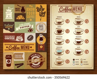 Coffee menu board for bar cafe restaurant vintage style 2 vertical banners composition abstract isolated  vector illustration