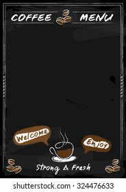 Coffee menu chalkboard style for coffee shop with space in vector