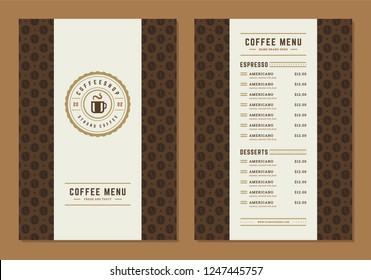 Coffee menu design brochure template. Coffee shop logo with vintage typographic decoration elements. Vector Illustration.