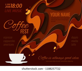 Coffee menu design - paper cut style poster for coffee shop, cafe or restaurant. Vector paper craft vintage coffee aroma background, banner, advertisement flyer