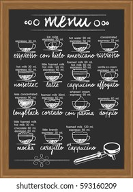 coffee menu and ingredient info hand drawn by chalk on chalkboard vertical vector style
