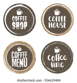 Coffee Menu Letters and Cup. Grunge circle set. Vector illustration
