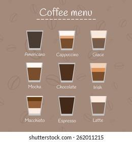Coffee menu on seamless background.