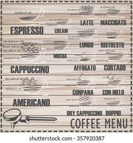 Coffee menu on wood vector format