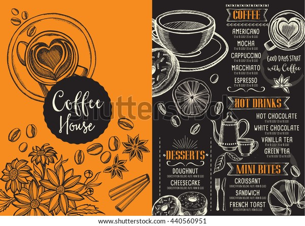 Coffee menu place mat food restaurant brochure, coffee shop template design.
