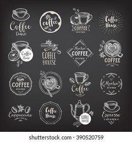 Coffee menu restaurant badges, coffee shop menu. Food design icons with hand-drawing elements. Graphic labels for drink restaurant template.