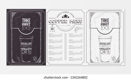 Coffee Menu for Restaurant, Coffee House, Cafe. Template Placemat with Two Variants of Cover - Black Chalkboard and White Background. Hand-drawn Graphic Vector Illustrations. Ad Coffee Take Away.