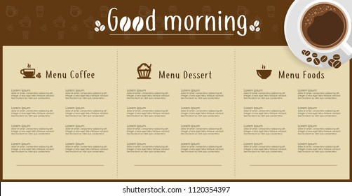 Coffee menu. Coffee set. Latte, cappuccino, espresso. Hot and cold drinks.