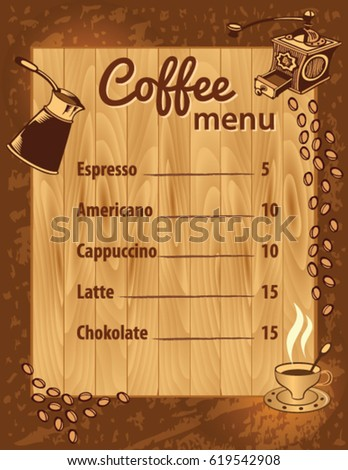 coffee menu template stock vector royalty free 619542908