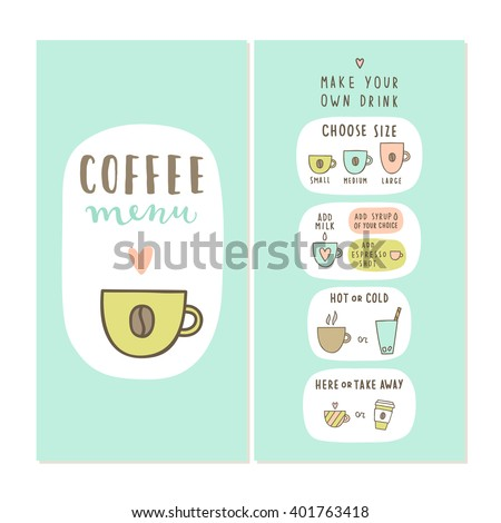 coffee menu template make your own stock vector royalty free