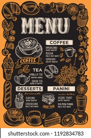 Coffee menu template for restaurant on a blackboard background vector illustration brochure for food and drink cafe. Design layout with vintage lettering and frame of hand-drawn fruits and sweets.