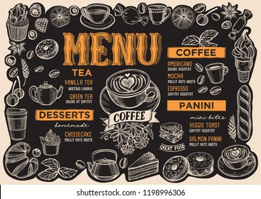 Coffee menu template for restaurant on a blackboard background vector illustration brochure for food and drink cafe. Layout with vintage lettering and frame of hand-drawn graphic fruits and sweets.