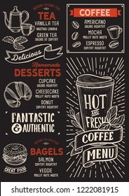 Coffee menu template for restaurant on a blackboard background vector illustration brochure for food and drink cafe. Design layout with vintage lettering and doodle hand-drawn graphic.