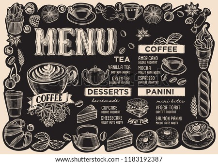 Coffee Menu Template For Restaurant On A Blackboard Background Vector Illustration Brochure Food And Drink