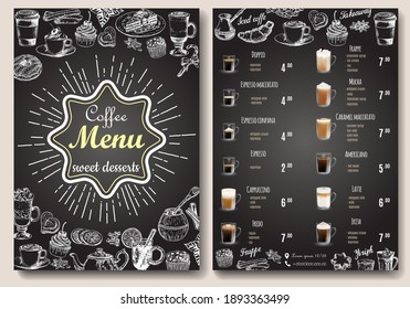 Coffee menu vector template. Front and back sides A4 paper format coffee menu price list, hand drawn design on chalkboard for cafe and restaurant.