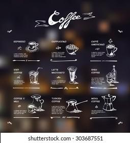 Coffee menu. White drawing on dark background