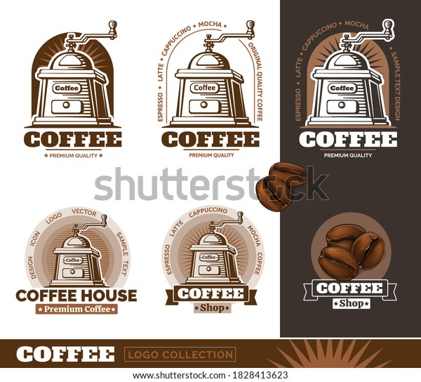 Coffee Mill and coffee beans logos. Vector Illustration.