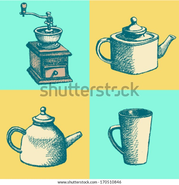 Coffee mill, teapot and cup, vector sketch pattern