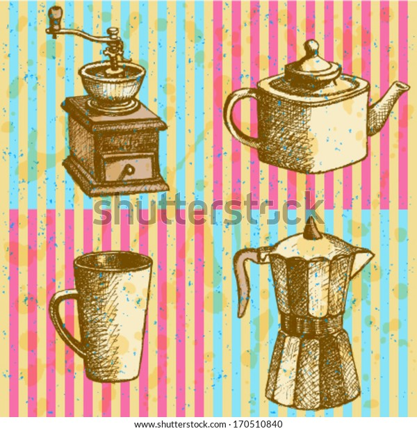 Coffee mill, teapot, geyser coffee maker and cup, vector sketch pattern