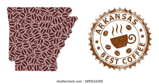 Coffee mosaic map of Arkansas State and grunge stamp. Vector map of Arkansas State collage is designed with coffee grains. Round rosette stamp in brown colors.