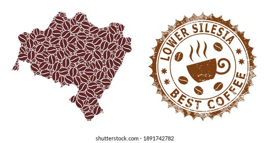 Coffee mosaic map of Lower Silesian Voivodeship and distress mark. Vector map of Lower Silesian Voivodeship collage is composed from coffee. Round rosette stamp in brown colors.