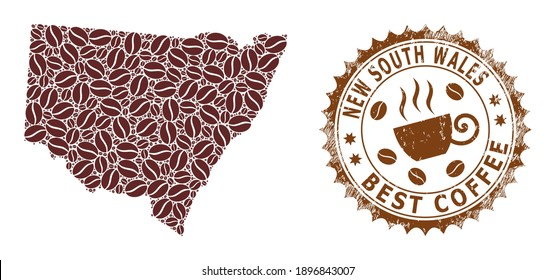 Coffee mosaic map of New South Wales and scratched stamp seal. Vector map of New South Wales collage is composed from cocoa grains. Round rosette stamp in brown colors.