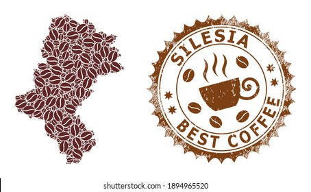 Coffee mosaic map of Silesian Voivodeship and scratched stamp seal. Vector map of Silesian Voivodeship collage is designed with coffee seeds. Round rosette stamp in brown colors.