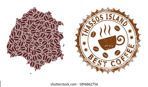 Coffee mosaic map of Thassos Island and distress stamp. Vector map of Thassos Island collage is composed from coffee. Round rosette stamp in brown colors.