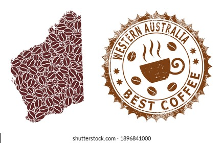 Coffee mosaic map of Western Australia and scratched badge. Vector map of Western Australia collage is composed from coffee beans. Round rosette stamp in brown colors.